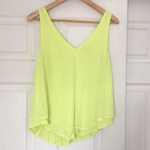 Valette neon yellow double layered v-neck tank, M